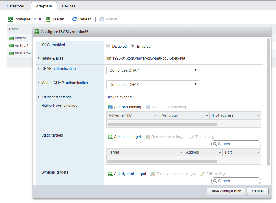 enable Software iSCSI storage adapter