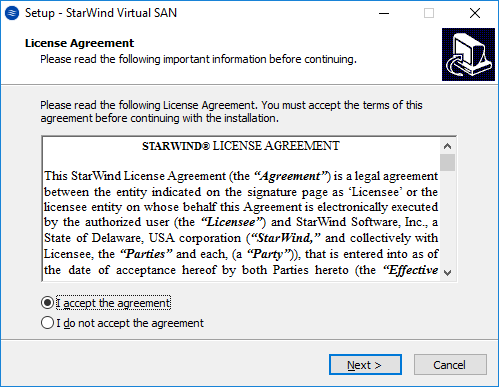 StarWind License agreement