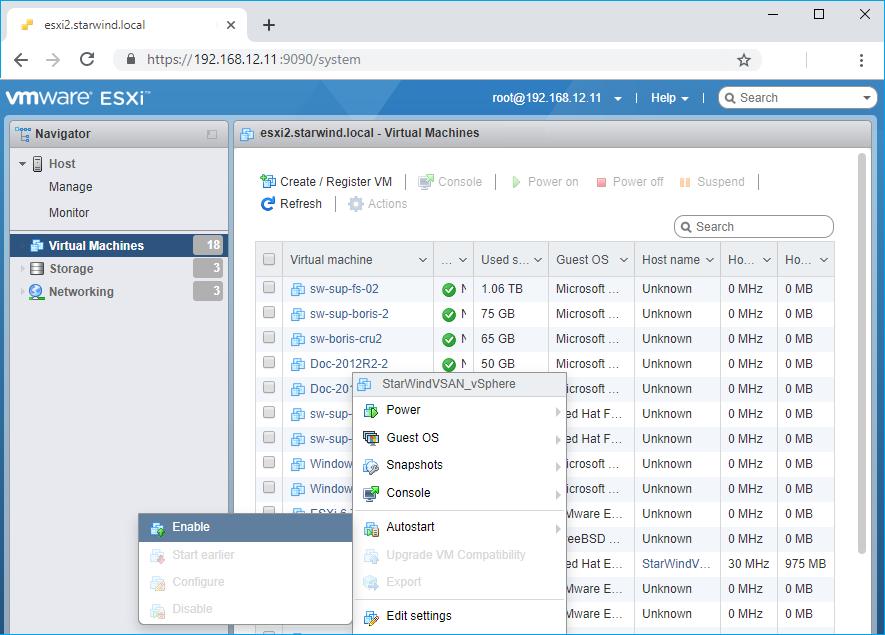 configure a VM autostart