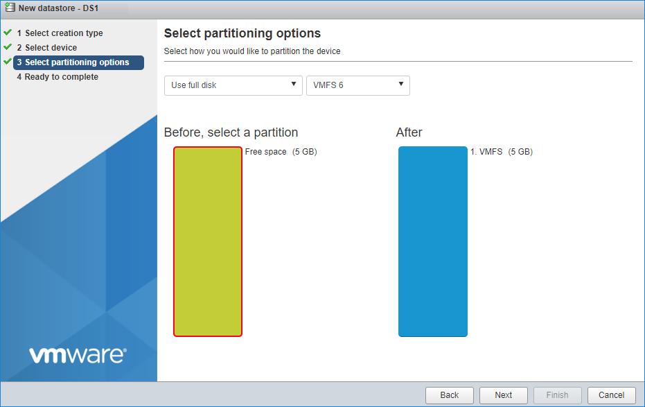Enter datastore size
