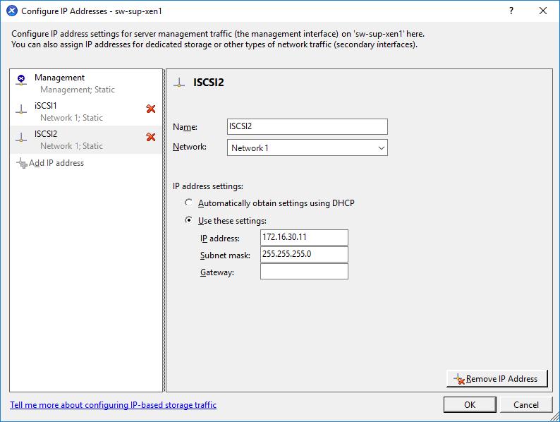 Configuring IP addresses