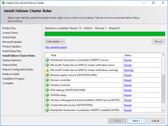 Install Failover Cluster Rules