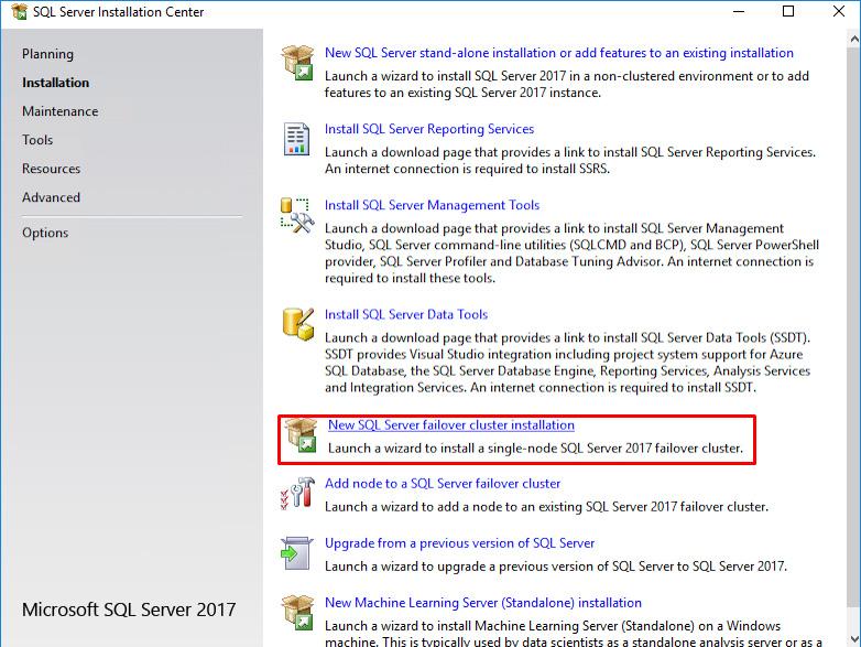 SQL Server FC installation