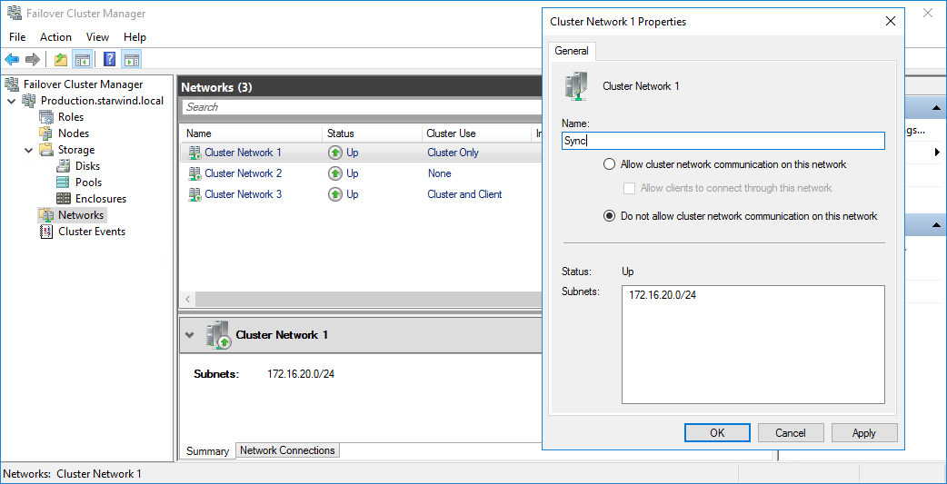 cluster network 1