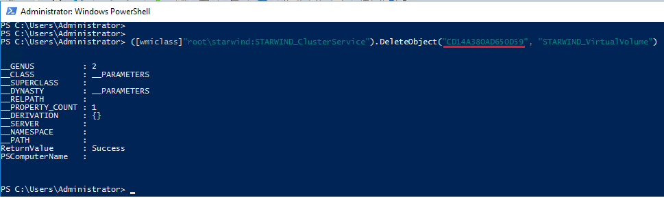 PowerShell cmdlet for deleting Virtual Volume