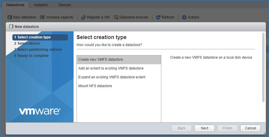 New Datastore type VMFS