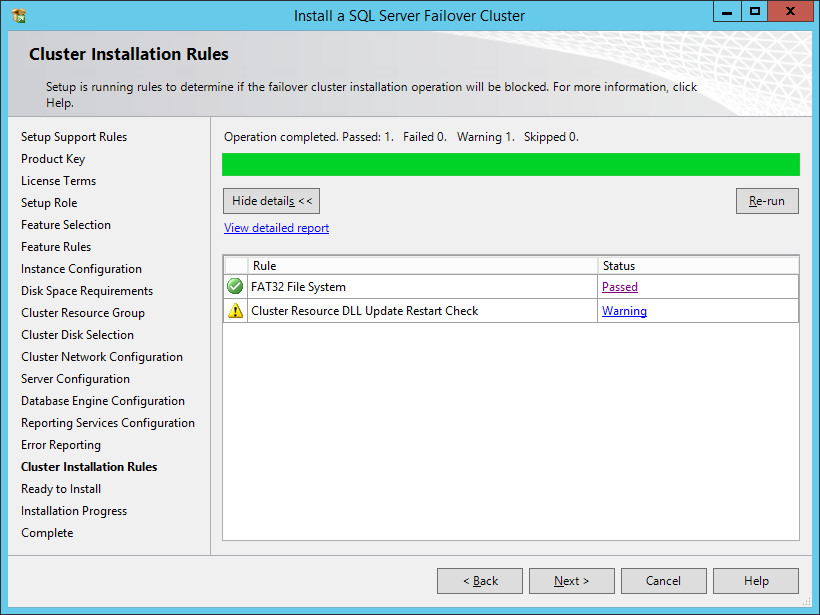 Cluster Installation Rules dialog box