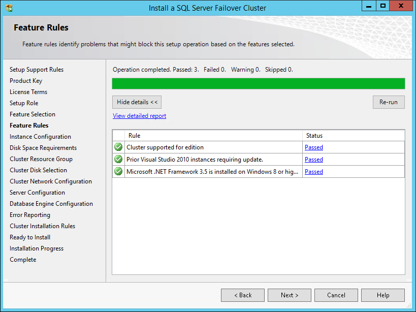 Feature Rules dialog box