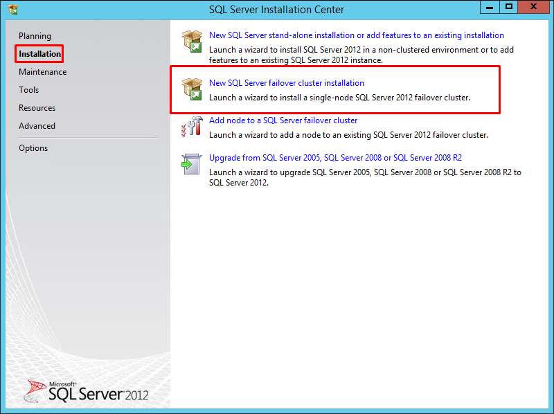 New SQL Server failover cluster installation