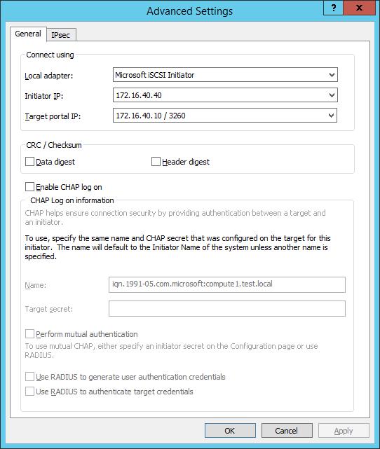 Target portal IP