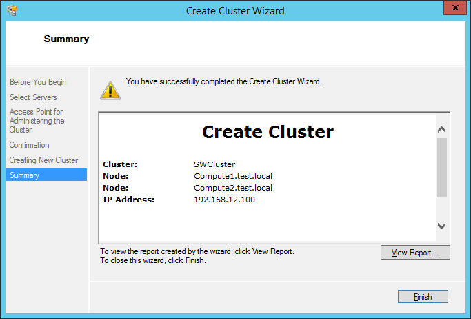 Create cluster wizard