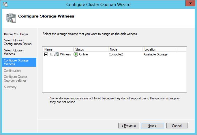 configure cluster quorum