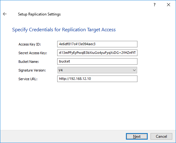 StarWind VTL - Credentials for Relication Target