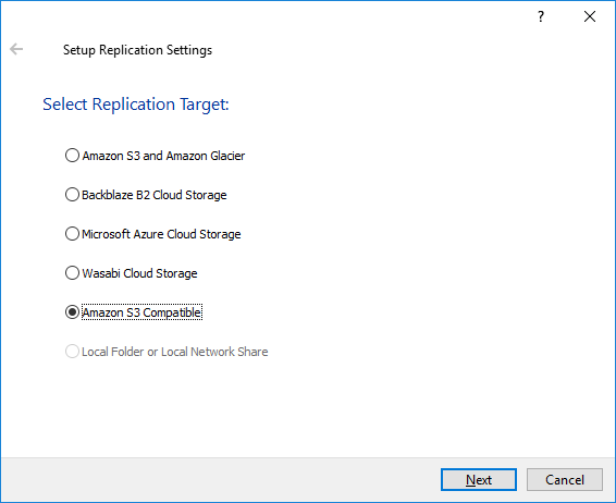 StarWind VTL - Setup Replication Settings