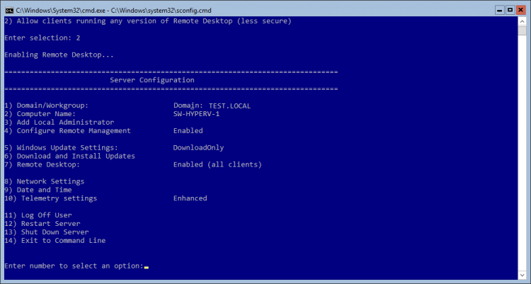 Hyper-V Server Configuration