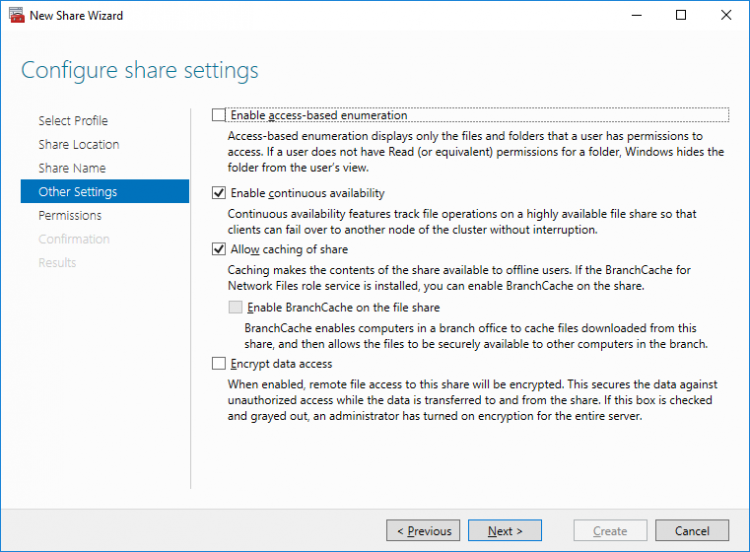 Configure share settings
