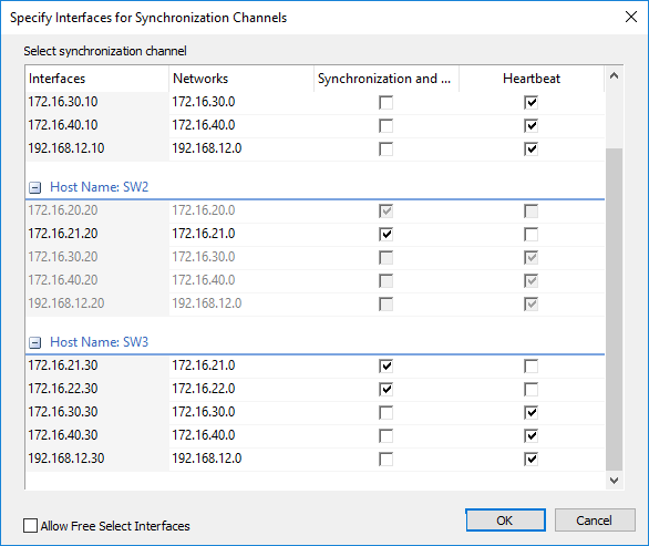 StarWind Specify Interfaces for Synchronization Channels