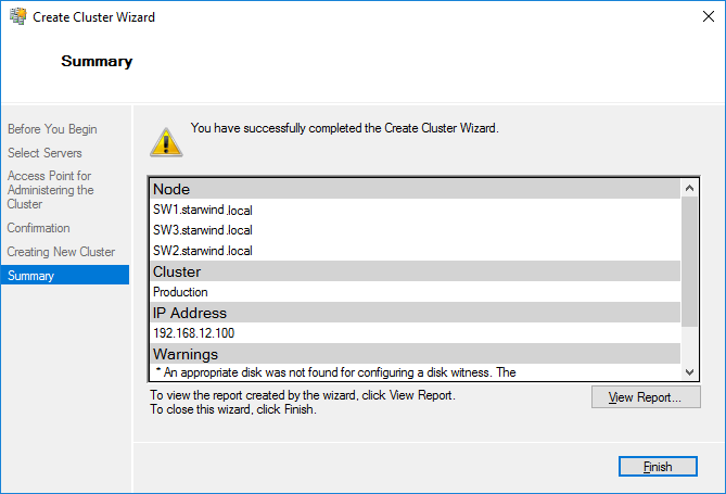 Summary Create Cluster Wizard