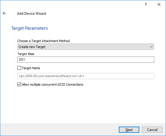 Add Device Wizard StarWind
