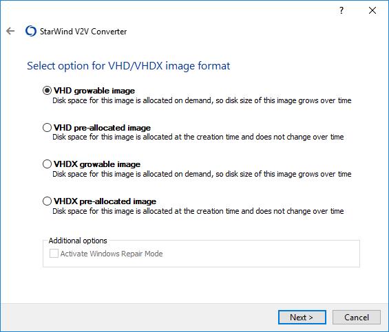 StarWind V2V Converter Help : Convert Volume to VHD/VHDX