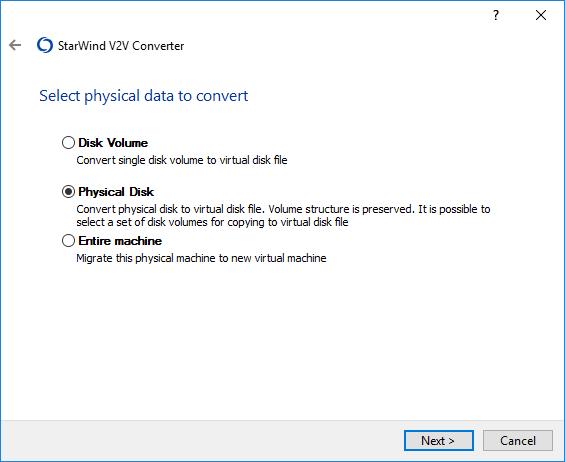 StarWind V2V Converter Help : Convert physical disk to remote