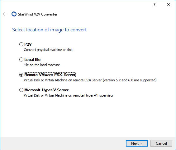 StarWind V2V Converter Help : VM from VMware ESXi Server to